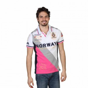 Tricou Geographical Norway Korway alb din bumbac