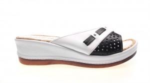 Papuci white/black Linda