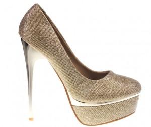 Pantofi aurii cu platforma Goldie