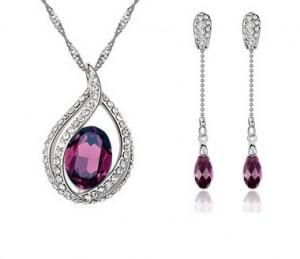 Set de bijuterii cu cristale Swarovski 'Deeply Amethyst'