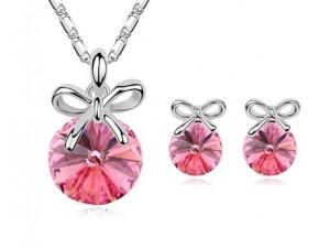 Set de bijuterii cu cristale Swarovski 'Little Bow Pink'