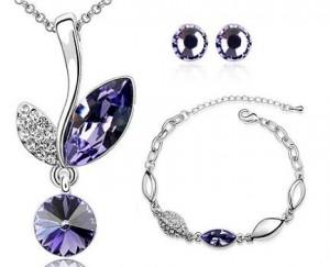 Set de bijuterii cu cristale Swarovski 'Fantezie mov'