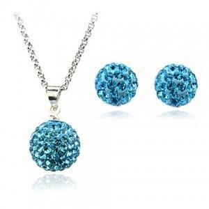 Set de bijuterii cu cristale Swarovski  'Shamballa  Aquamarine'