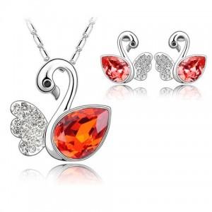 Set de bijuterii cu cristale Swarovski 'Lebaduta Corai'