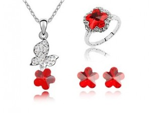 Set de bijuterii cu Cristale Swarovski 'Hyacinth red'