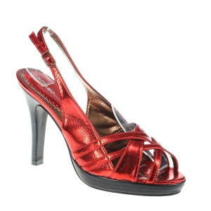 Sandale rosu metalizat Victoria