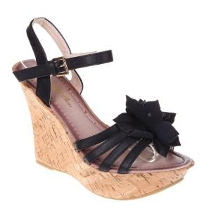 Sandale platforma negre Letizia
