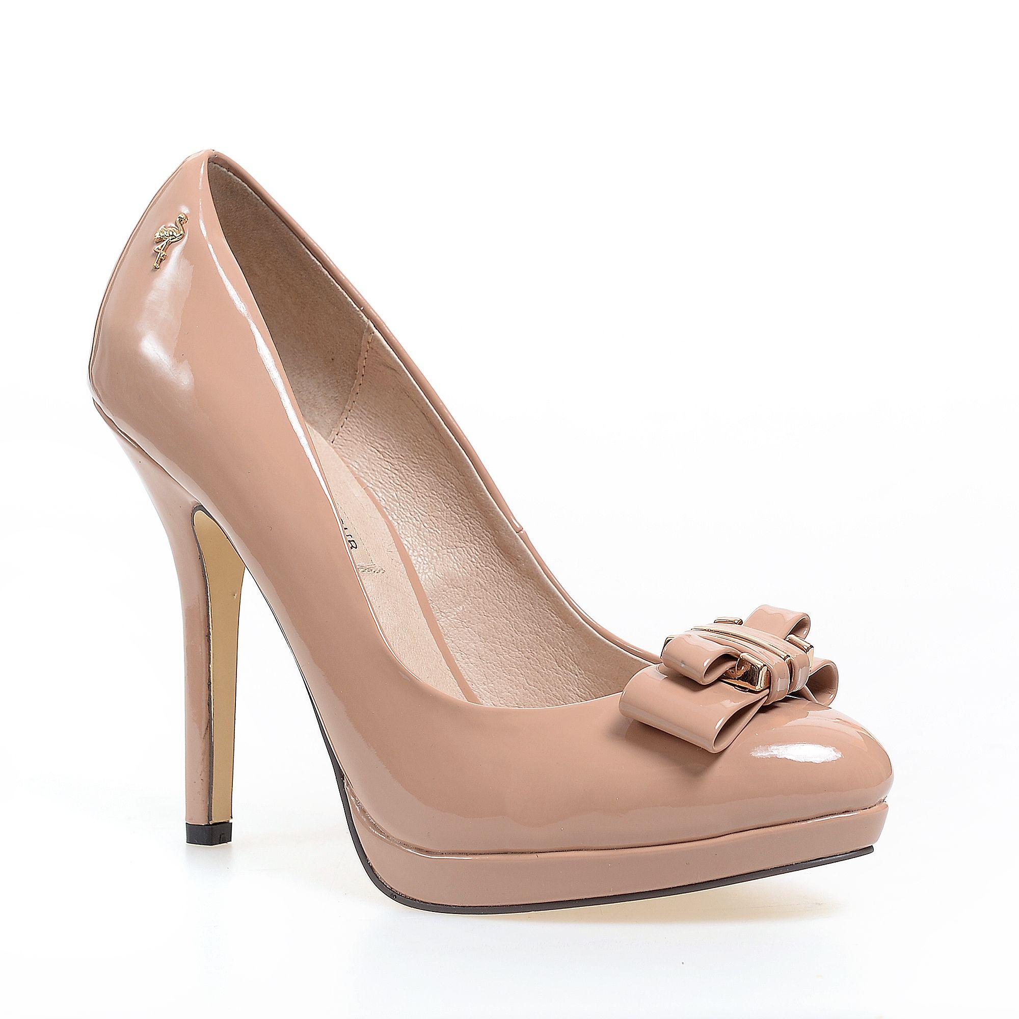 Pantofi comozi din piele intoarsa nude cu toc de 7 cm